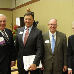 (Click to enlarge) ISBA President John O'Brien, ISBA 2nd Vice President John Locallo, ISBA 3rd Vice President John Thies and Illinois State Supreme Court Chief Justice Thomas Fitzgerald.