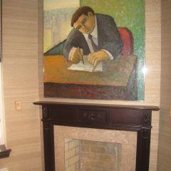 A fireplace original to the 1888 building