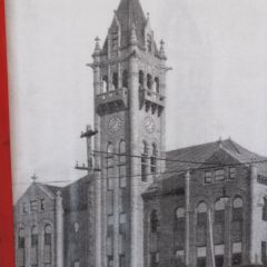 The clock and bell tower in its original glory.
