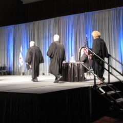 Justices Freeman, Fitzgerald and Burke arrive at the admissions ceremony.