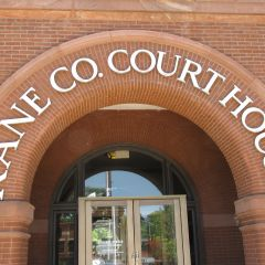 Courthouse front door - but entrance is at rear of building