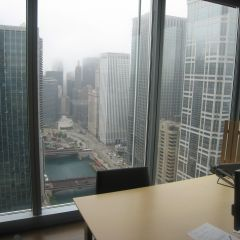 The view from a corner partner office on the 31st floor.