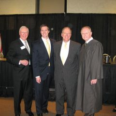 ISBA President John O'Brien, new admittee Thomas Howard, his father, ISBA member Tim Howard and Justice Thomas L. Kilbride