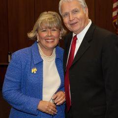 New initiate Paula Holderman is congratulated by Bob Downs