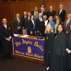 The Chicago Alumni Chapter of Phi Alpha Deltar Law Fraternity recently had a record number of alumni initiates pledge to further its mission of service to the student, school, profession and community.