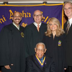 Judge Leighton (seated), Pierre Priestley (from left), Judge James F. Holderman, Michele Jochner, PAD District XI Justice John K. Norris.