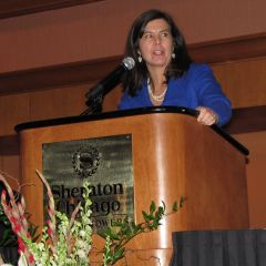 Cook County State's Attorney and Chicago Bar Association President Anita Alvarez speaks at the dinner. The Chicago Bar Association was co-sponsor of the event.