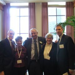 Distinguished Counsellors Howard Goffen (right) and Milton Jacobson (center) with their families
