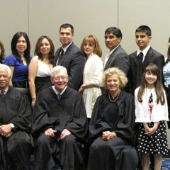 New admittee David Froylan and family with the justices.