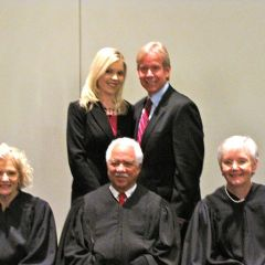 New admittee Shauna Martin with her father, ISBA member Jeffrey Martin and the justices.