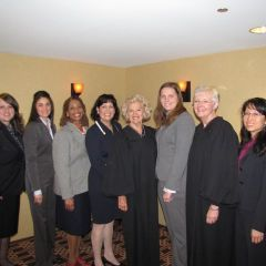 Representatives from local bar associations with Supreme Court Justices Anne Burke and Mary Jane Theis