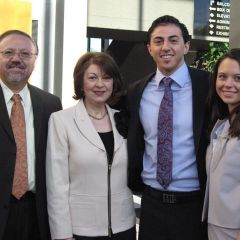 ISBA member and Rockford attorney Albert Altamore, his wife toni, his son, new admittee Agostino and his wife Ashley.