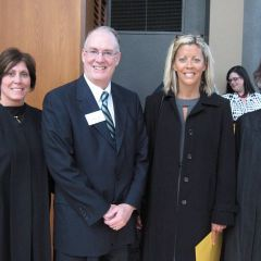 Justice Mary S. Schostock, ISBA 3rd Vice President Thies, new admittee Julie Brady of St. Charles, Justice Kathryn E. Zenoff