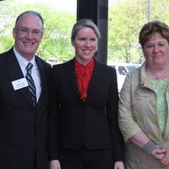 ISBA 3rd Vice President John Thies, new admittee Lijana Pukinaite, Justice Susan Hutchinson