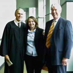 Appellate Justice William E. Holdridge, new admittee Abigail Waeyaert and George F. Mahoney III