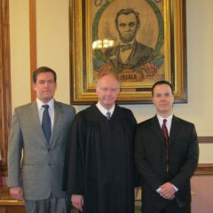 New admittee Terence Naughton, Justice Thomas L. Kilbride and new admittee Eric Summers