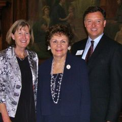 Hon. Katherine M. McCarthy, Justice Rita Garman, ISBA 2nd Vice President John Locallo