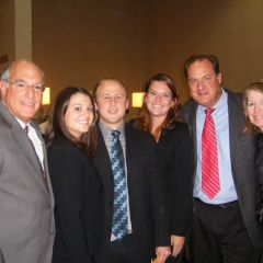 ISBA President Mark D. Hassakis (form left) with new admittees Caitlin Embrich, Matthew Riedle and Kelly Crosby and Kelly's parents, Rose and Tom Crosby