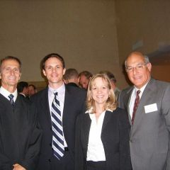 Judge Mark Shaner (from left) with new admittees Eric Bronner and Kay Parish, and ISBA President Hassakis
