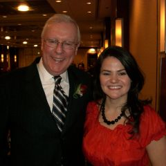 ISBA President John G. O'Brien and newly installed Advocates Society President Megan Kaszubinski Ferraro