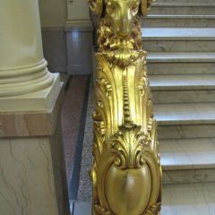 No one is 100 percent sure of the significance of the four gold-covered rams in the 2nd floor lobby. Elder courthouse visitors claim that they represent agriculture.