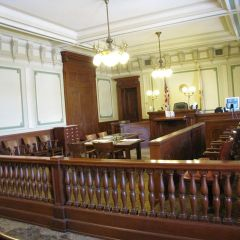 Courtroom 200 is a smaller version of Courtroom 300.