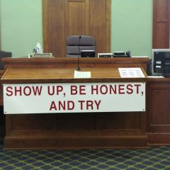 This sign is posted each Friday for drug court in Judge Robbin Stuckert's Room 204.