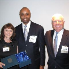Charter members Janet and David Sosin with IBF President Vince Cornelius (center)