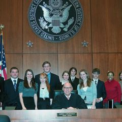 Chief Judge Holderman and the Mock Trial team from Oak Park/River Forest High School.