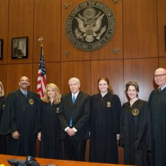 From left to right: Nicole Kopinski, Treasurer; Pierre Priestley, Vice Justice; Michele Jochner, Justice; Bob Downs, Chairman of the Board; Shannon Riefsteck, Marshall; Barbara Andersen, Secretary; Judge Holderman.