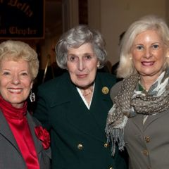 Past ISBA President Hon. Carole K. Bellows and Hon. Rhoda Davis Sweeney congratulate Justice McMorrow.