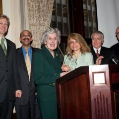 Officers of the Chicago Alumni Chapter present the newly-renamed award to Justice McMorrow.  Kevin M. Hull, luncheon chair and member of the Board of Directors; Pierre Priestley, Chapter Vice Justice; Hon. Mary Ann McMorrow; Michele Jochner; Robert K. Downs, Chairman of the Board; Hon. James F. Holderman, Honorary Board Chair.