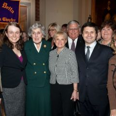 Justice McMorrow is congratulated by members of the Advocates Society.