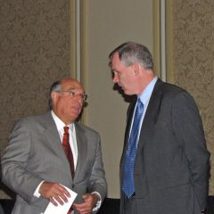 ISBA President Mark Hassakis speaks with U.S. Attorney Patrick Fitzgerald