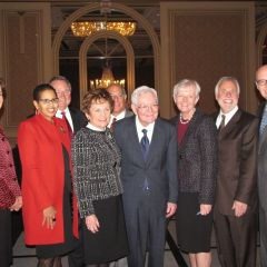 (Click to enlarge) First row from left: CBA President Terri Mascherin, Judge Ann Claire Williams, Justice Rita Garmin, Chief Justice Fitzgerald, Justice Mary Jane Theis, Justice Bob Thomas, Chief Judge James Holderman. Back row: Justice Lloyd Karmeier, ISBA President Mark Hassakis