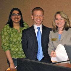 NIU College of Law students who presented at the event: Trisha Chokshi, Zack Hooper and Katie Haskins Becker