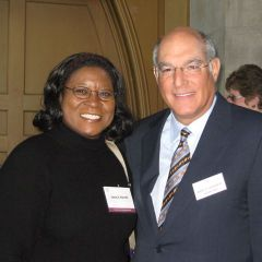 NIU law student Leara Harvell and ISBA President-elect Mark Hassakis