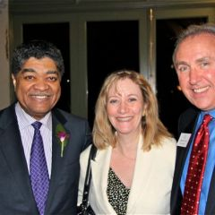 Cook County Chief Judge Timothy Evans (left), ISBA Assembly member Lori Levin and ISBA Board of Governors member Umberto Davi