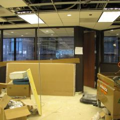 The new CLE studio has been painted and glass has been installed.