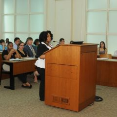 Danielle Coker makes her argument during the Moot Court