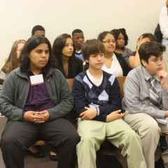 Students listen in court at the Daley Center.