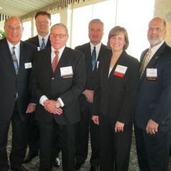 SBA President Mark D. Hassakis and President-elect John G. Locallo, hosted the Quincy Regional meetings along with Jim Palmer and Judge Mark Schuering (ret.). Jeffery E. Tobin (fourth from left) and Jennifer A. Winking spoke on workers comp issues. Tobin is an Arbitrator of the Illinois Workers Compensation Commission, and Winking practices in workers comp in a Quincy firm.