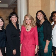 Chicago Alumni Chapter Justice Michele Jochner (center) greets members of the Women's Bar Association of Illinois, including President Kathy Gallanis (second from left)