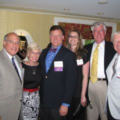ISBA President Mark D. Hassakis with his wife, Janet Hassakis, ISBA President-elect John G. Locallo, Marron Mahoney, IBF President George Mahoney and IBF Past President David Sosin