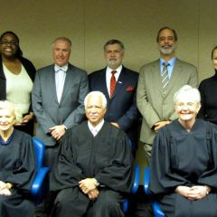 Bar association leaders with Justices Burke, Freeman and Theis