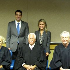 New admittee Macie Kriger and friends with Justices Burke, Freeman and Theis