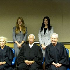 New admittees Amanda Graham and Kathryn Kizer with Justices Burke, Freeman and Theis