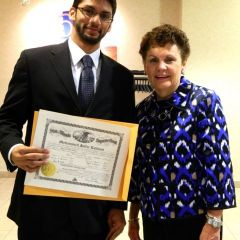 New admittee Mohammed J. Lakhani (Naperville) with with Illinois Supreme Court Justice Rita B. Garman