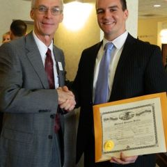 New admiteee Michael G. Butts (Bloomington) with ISBA Treasurer Hon. Stephen R. Pacey