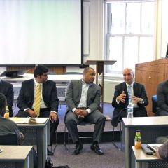 The Men in the Law panel was made up of (left to right) Tim Whiting of Whiting Law Group, Daniel Saeedi of Shefsky & Froelich, Brent Hawkins, Andy Fox, Administrative Law Judge and Derrick Thompson of Hoogendorn & Talbot.